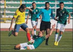 ??  ?? Acción ofensiva de Colombia en el partido de ayer.