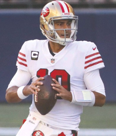?? ABBIE PARR / GETTY IMAGES FILES ?? The future of 49ers QB Jimmy Garoppolo is one of the more intriguing plot lines for a destinatio­n change in the NFL