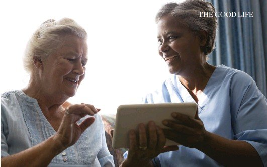 ??  ?? ABOVE: The use of digital technology has become more prevalent in care homes