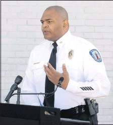 ?? ALEXA WELCH EDLUND/ TIMES-DISPATCH ?? Richmond Police Chief Gerald Smith discusses Sunday's killing of a 16-year- old girl and the self-inflicted shooting of her boyfriend.