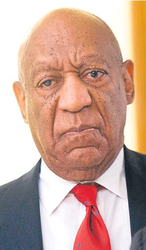 ??  ?? GUILTY: Bill Cosby reacted angrily after jurors left the courtroom yesterday