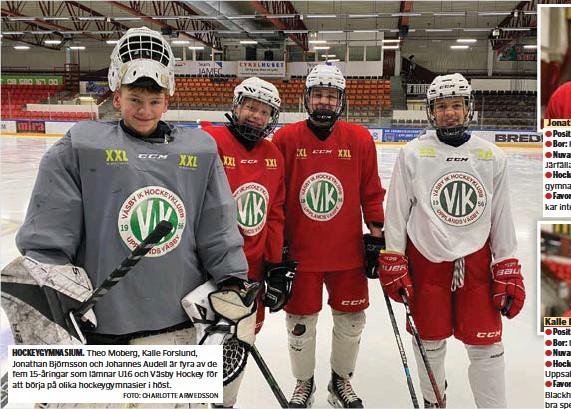 ?? FOTO: CHARLOTTE ARWEDSSON ?? HOCKEYGYMNASIUM. Theo Moberg, Kalle Forslund, Jonathan Björnsson och Johannes Audell är fyra av de fem 15-åringar som lämnar U16 och Väsby Hockey för att börja på olika hockeygymnasier i höst.