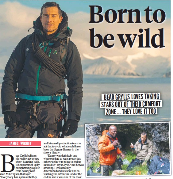 ??  ?? B Bear G Grylls l in Iceland, and above, Terry Crews and Grylls try some fermented shark meat in Iceland. 33