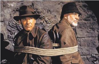 """?? FOTO: LUCASFILM LTD./DPA ?? Harrison Ford (links) und Sean Connery im dritten Teil der Reihe """"Indiana Jones und der letzte Kreuzzug"""". Der erste Teil wurde am 12. Juni 1981 erstmals in den USA gezeigt wurde. Anlässlich des 40. Jahrestages erscheint die Filmreihe am 10. Juni in einer Box erstmals in 4k Ultra HD."""