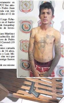 ??  ?? Arriba, Cristhian David Lugo Echagüe. Abajo, la pistola Glock usada en los crímenes.