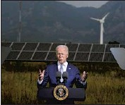 ?? Evan Vucci Associated Press ?? PRESIDENT Biden speaks about climate at the National Renewable Energy Laboratory in Arvada, Colo.