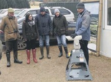 ??  ?? 0 Dr Dave Parish of the Game & Wildlife Conservati­on Trust explains the laser trial at an open day at Auchnerran