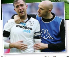 ??  ?? TOUGH TO TAKE: Derby's Richard Keogh (left) is consoled by teammate Conor Sammon at Wembley Stadium yesterday