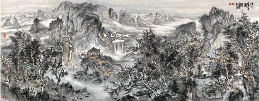 ??  ?? 张 贤/ 桂川叠翠图 80cm×180cm