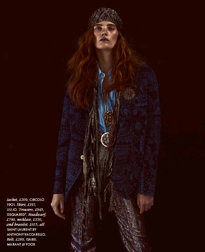 ??  ?? Jacket, £209, CIRCOLO 19O1. Shirt, £197, LIU JO. Trousers, £945, DSQUARED2. Headscarf, £790, necklace, £350, and bracelet, £615, all SAINT LAURENT BY ANTHONY VACCARELLO. Belt, £289, ISABEL MARANT at YOOX