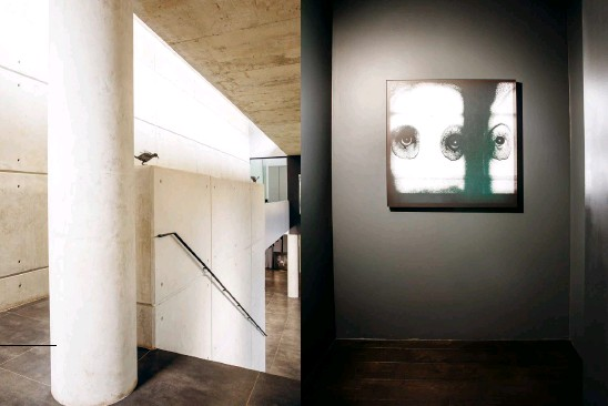 """??  ?? ABOVE, FROM LEFT The exposed concrete of the interior is partly inspired by Japanese architect Tadao Ando; a work from Roger Ballen's """"Theatre of Apparitions"""". OPPOSITE, CLOCKWISE FROM TOP LEFT An installation at the entrance to the WC humorously indicates which door is the men's, and which the women's; shifting light etches out constantly changing patterns on the wall; on the entrance platform, light comes in from three different directions; at other times, the light is soft and diffused."""