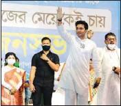 ??  ?? Abhishek Banerjee at a rally ,in Baguiati, on Tuesday