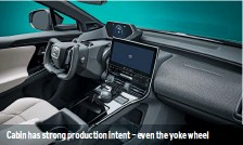 ??  ?? Cabin has strong production intent – even the yoke wheel