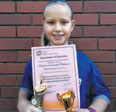 ??  ?? Hluhluwe Primary's Hannah Taylor finished third in the Grade 5 district Mental Mathematics Challenge