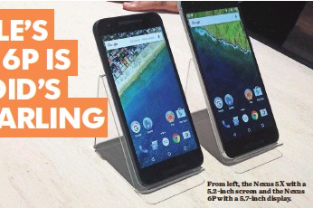 ?? THERESA CHONG FOR USA TODAY ?? From left, the Nexus 5X with a 5.2-inch screen and the Nexus 6P with a 5.7-inch display.
