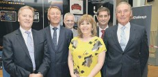 ??  ?? Richard Smelt, Barry Dodd, Alan Pickering, Maggie Philbin, Tim Englefield, and Peter Wilkinson at the dinner