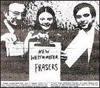 ??  ?? The Frasers were born as a result of a name-the-team contest. In a picture in the New Westminster Columbian, former mayor Muni Evers (left) holds up the winning name with Dean Taylor (right) and the contest winner.