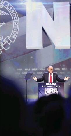 ?? Foto: AFP/Scott Olson ?? Donald Trump auf der NRA-Jahresversammlung