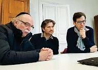 ??  ?? I protagonisti del progetto interreligioso di Berlino. Da sinistra: il rabbino Andreas Nachama (67 anni), l'imam Kadir Sanci (40 anni) e padre Gregor Hohberg (50 anni)