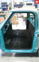 ??  ?? 33 Here's a look at our new carpet kit, fully secured with new seals and sill plates, and ready for our new seat.