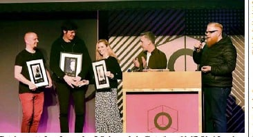 ??  ?? First place went to Susan Sweeney from Ballyshann­on for her illustrati­on entitled 'Bulldog'. Second was '---cut here---' by James Hayes from Kerry (second from the left) while third was 'Waiting for Brexit' by Dominic Barnes from Dublin
