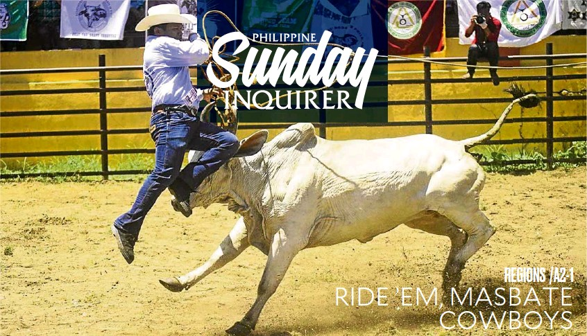 ?? —SHAN GABRIEL APULI ?? RODEOMASBATEÑO A Filipino cowboy jumps to evade a charging bull during the 24th Rodeo Masbateño in Masbate City on Tuesday.