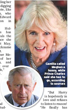 ??  ?? Camilla called Meghan a hussy, while Prince Charles said she has to go, according to sources