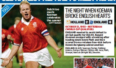 ?? GETTY IMAGES ?? Dutch too much: Koeman celebrates the opener