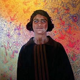 ??  ?? Aunty Violet, by Julie Dowling, is part of the Yagu Gurlbarl (Big Secret) exhibition at Geraldton Regional Art Gallery.
