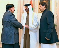 ??  ?? Sheikh Mohamed bin Zayed shakes hands with railways Minister Sheikh rashid while Prime Minister imran Khan looks on.