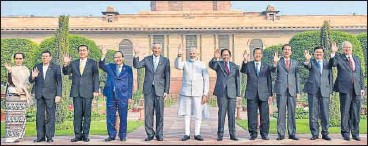 ?? PTI ?? Prime Minister Narendra Modi (centre) with Asean countries' heads of states at the Rashtrapati Bhavan on Thursday.