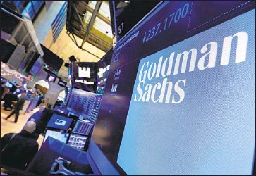 ?? Richard Drew Associated Press ?? GOLDMAN SACHS denies any bias in a vice president's dismissal two years ago and says it had nothing to do with her pregnancy or leave. Above, the company's logo appears at the New York Stock Exchange in 2016.