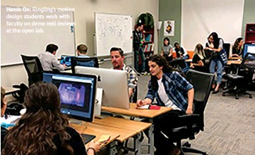 ??  ?? Hands On: Ringling's motion design students work with faculty on demo reel reviews at the open lab.