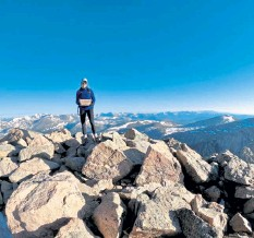 ?? Betsy Sachs / Courtesy photo ?? Betsy Sachs of Denver climbed Mount Bierstadt, a popular fourteener 11 miles south of Georgetown, on June 12. She said there were scattered snowfields but was able to complete her climb in three hours.