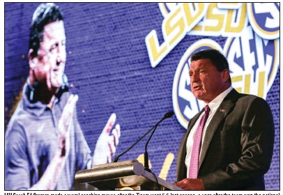 ?? (AP/Butch Dill) ?? LSU Coach Ed Orgeron made several coaching moves after the Tigers went 5-5 last season, a year after the team won the national championship. One of Orgeron's hires included former University of Arkansas offensive line coach Brad Davis.