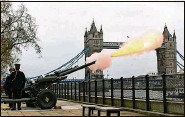 ?? DOMINIC LIPINSKI   PA via Associated Press ?? Members of the Honourable Artillery Company fire a 41-round gun salute to mark the death of Prince Philip.