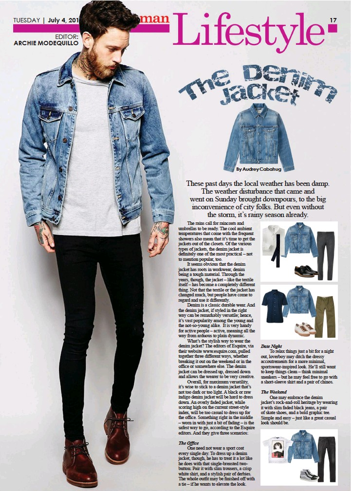 7c964b7dc5ec6f One may embrace the denim jacket s rock-and-roll heritage by wearing it  with slim faded black jeans