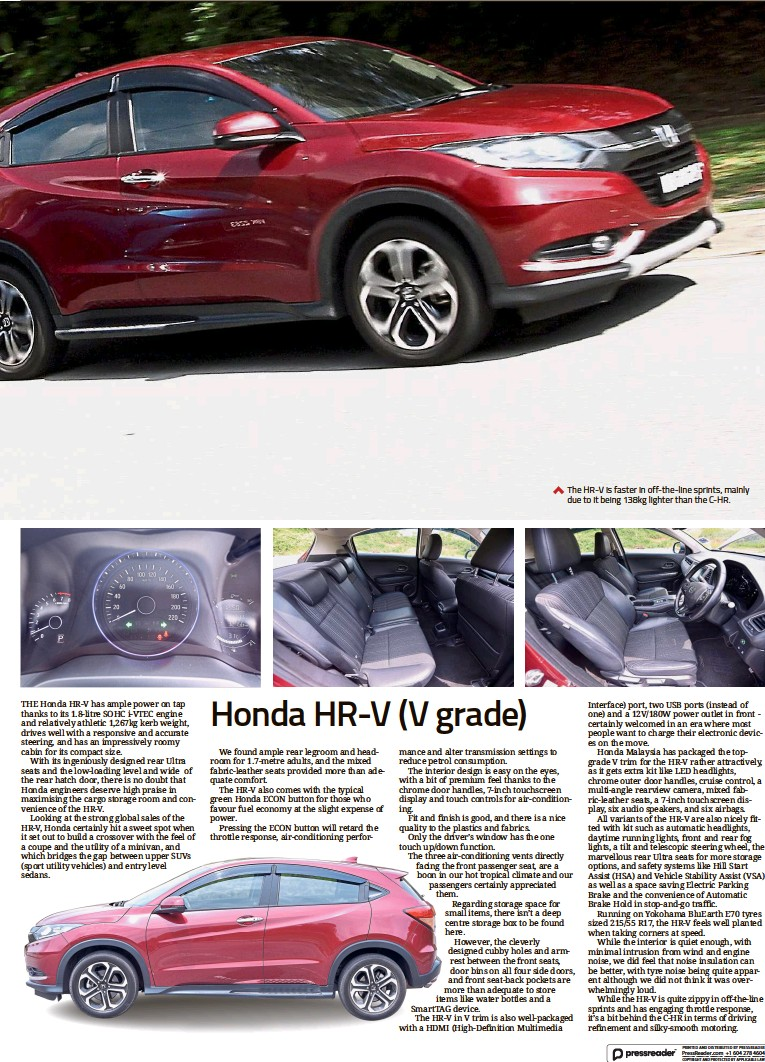 ??  ?? The HR-V is faster in off-the-line sprints, mainly due to it being 138kg lighter than the C-HR.