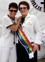 """??  ?? MATCH POINT With partner Ilana Kloss at the 2018 Pride March in New York City, where King was Grand Marshal; (inset) a pin from the 1973 """"Battle of the Sexes"""" match against Bobby Riggs"""