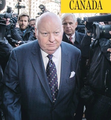 ?? / JUSTIN TANG / THE CANADIAN PRESS ?? Sen. Mike Duffy may have sincerely believed he did nothing wrong, and that may have made him unwilling to admit he had, Andrew Coyne writes, and if there were no rules to prohibit what he did, there certainly should have been.