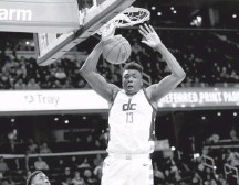 ?? KATHERINE FREY/THE WASHINGTON POST ?? Before his knee injury Saturday, the Wizards' Thomas Bryant was averaging 14.3 points and 27.1 minutes per game, both career highs.