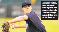 ?? AP ?? Jameson Taillon, who has dealt with injuries and cancer, starts for Yankees tonight against Blue Jays at Stadium.