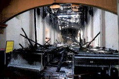 ?? SCNG ?? The inside of the church after a four-alarm fire, July 11.