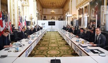 ?? FOTO: BEN STANSALL / POOL PRIN REUTERS ?? Participanții participă la reuniunea miniștrilor de externe G7 la Londra,Marea Britanie,5 mai 2021.