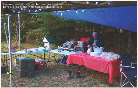 ??  ?? Catering would be great, but not practical unless you have a large group with dedicated volunteers.