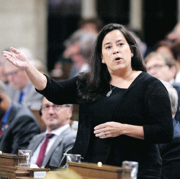 ?? JUSTIN TANG / THE CANADIAN PRESS ?? Justice Minister Jody Wilson-Raybould rises during question period Tuesday. Wilson-Raybould's Bill C-78 proposes changes to federal divorce law.