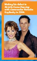 ??  ?? Making his debut in Strictly Come Dancing with newsreader Natasha Kaplinsky in 2004.