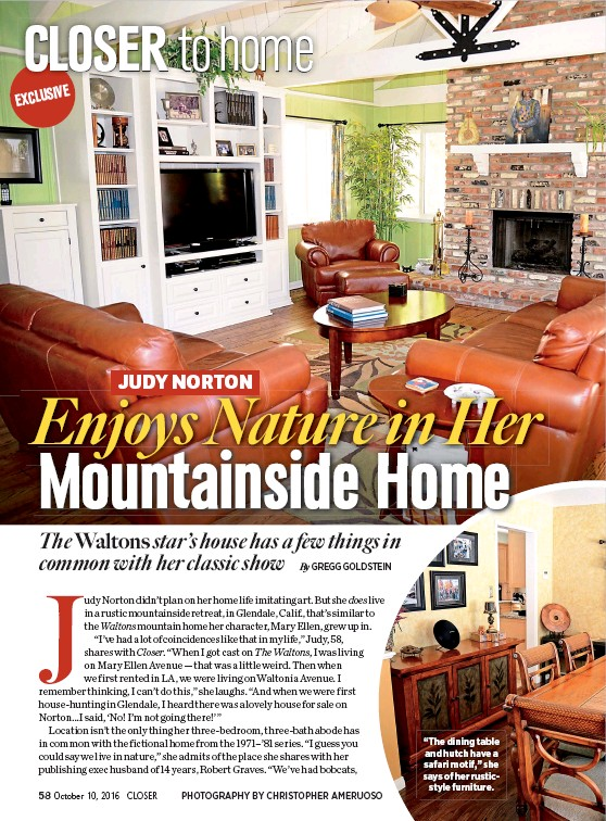 """??  ?? """"The dining table and hutch have a safari motif,"""" she says of her rusticstyle furniture."""
