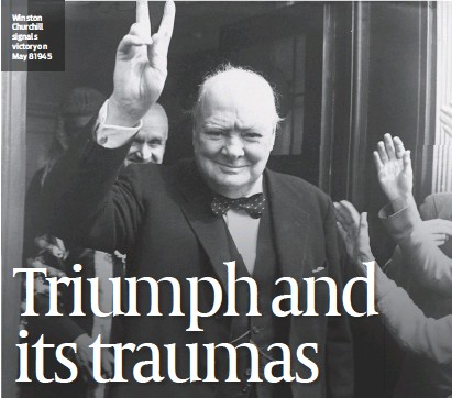?? PHOTO: GETTY IMAGES ?? Winston Churchill signals victory on May 8 1945