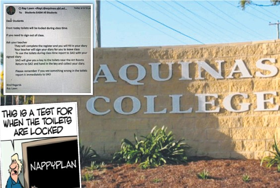 ??  ?? Students at Aquinas College have been banned from using toilets during class and (inset) the email explaining what they now have to do to use the toilet.
